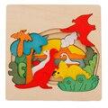Детские Деревянные Игрушки для Детей Головоломки Игрушки Ранние Образовательные 3D Головоломки История Динозавров Мультфильм Животных Головоломки Доска