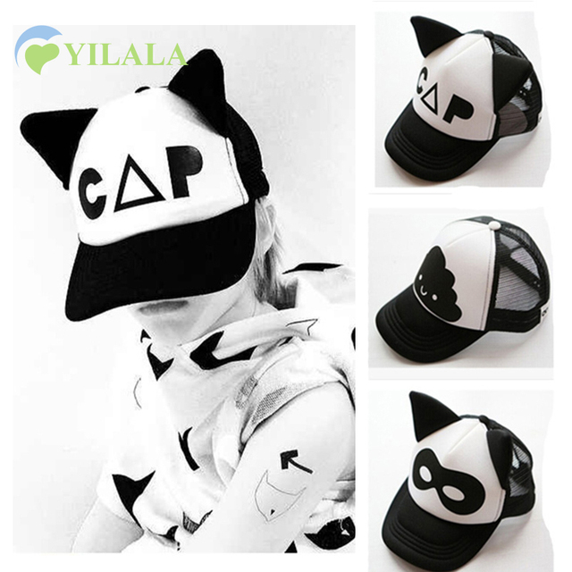 INS Baby Caps Black White Kids Mesh Hat With Ears Spring Summer Boy Girl  Sun Hats 3ae403bda472