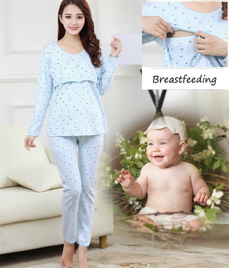 Maternity Nursing long sleeve 2pcs/set Pregnant Womens Sleepwear Breastfeeding pajamas set for Pregnant Women Maternity Pajama
