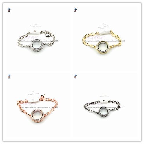 4pcs/lot Free Shipping 25mm Openable Magnet Photo Memory Glass Locket Bracelet Floating Living Locket Bracelet