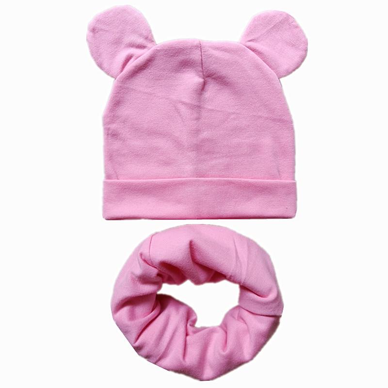 Cute Ears Children Hats Autumn Winter Crochet Baby Hat Scarf Set Girls Boys Cotton Beanies Cap Toddler Kids Hat Scarf Collar Set