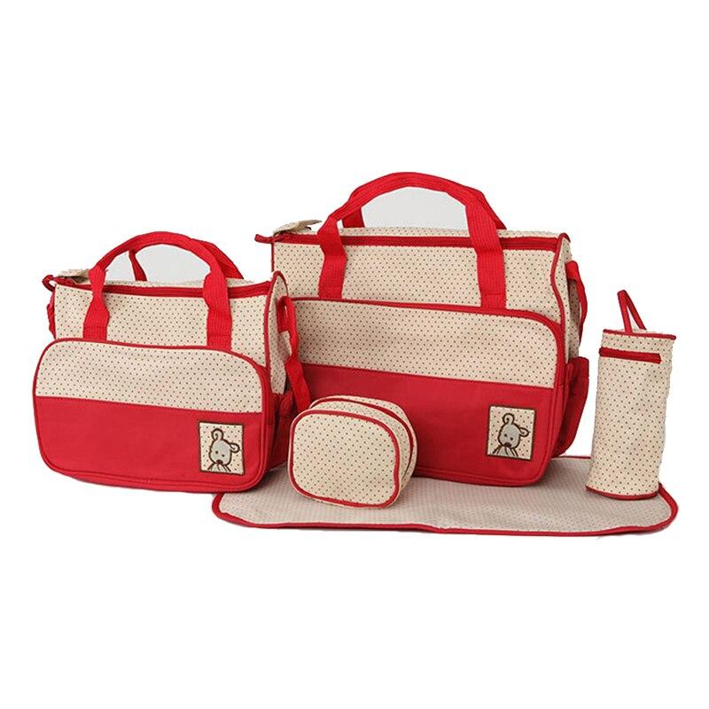 5pcs Diaper Bag Suits For Mom Baby Bottle Holder Mummy Cart Pram Nappy Stroller Maternity Trolley Nappy Bag Sets