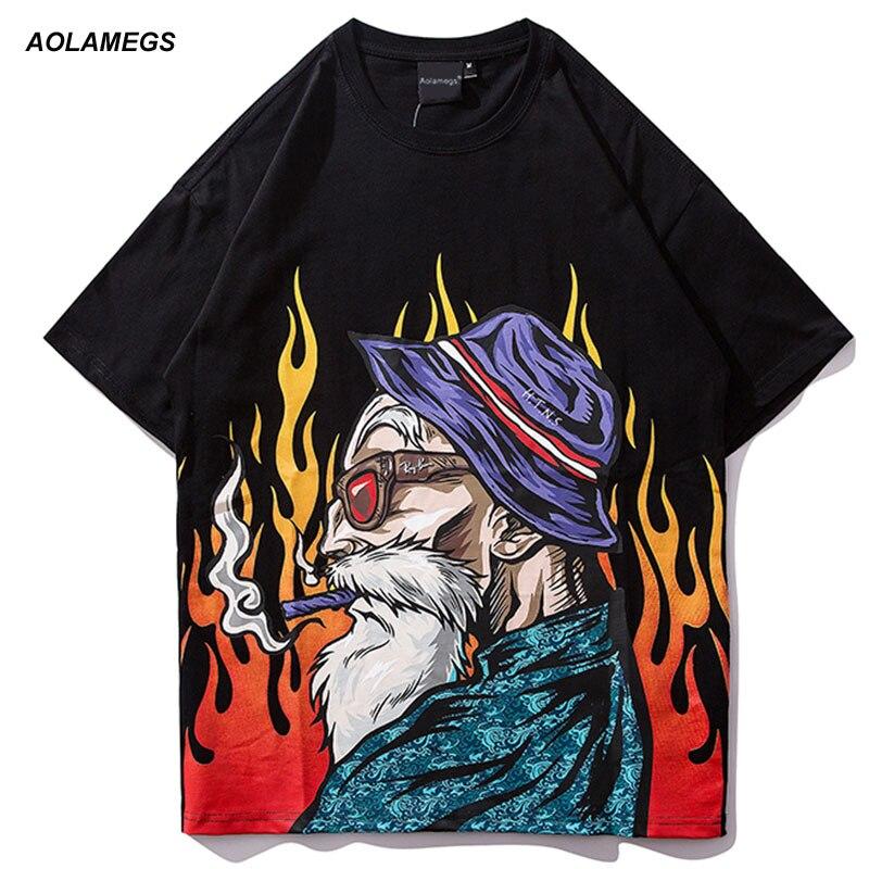 Aolamegs Men T Shirt Printed Japanese Men's Tee Shirts O-neck T Shirt Short Sleeve Fashion High Street Tees Streetwear Couple