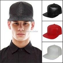 Модная шляпа, 5 панелей, кожаные бейсболки, на каждый день, змеиная кожа, бейсболки, аксессуар, плоская подошва, хип-хоп, с ремешком, для мужчин и женщин