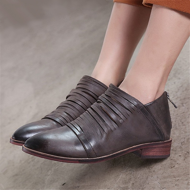 Plus Size 34-43 genuine leather women shoes Novelty Retro Handmade lady flats woman female loafers moccasins Zip Casual Shoes 2017 new handmade women flats genuine leather oxfords shoes woman fashion ballets flats casual moccasins for women sapatos mujer