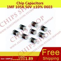 1LOT=100PCS Chip Capacitors 1uF 105K 50V 10% 0603 1000nF 1000000pF Package0603 (1608 Metric) SMD