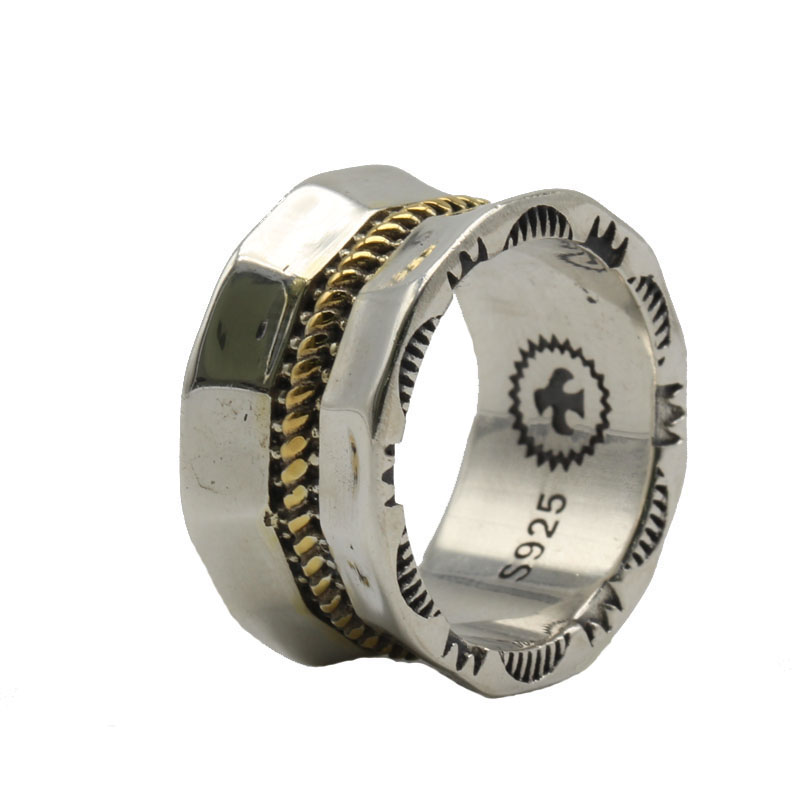 Винтаж индийский Стиль Wide Band Кольцо Для мужчин Для женщин 100% твердых стерлингового серебра 925 Элегантные Дизайнерские серебро 925 ювелирные ...