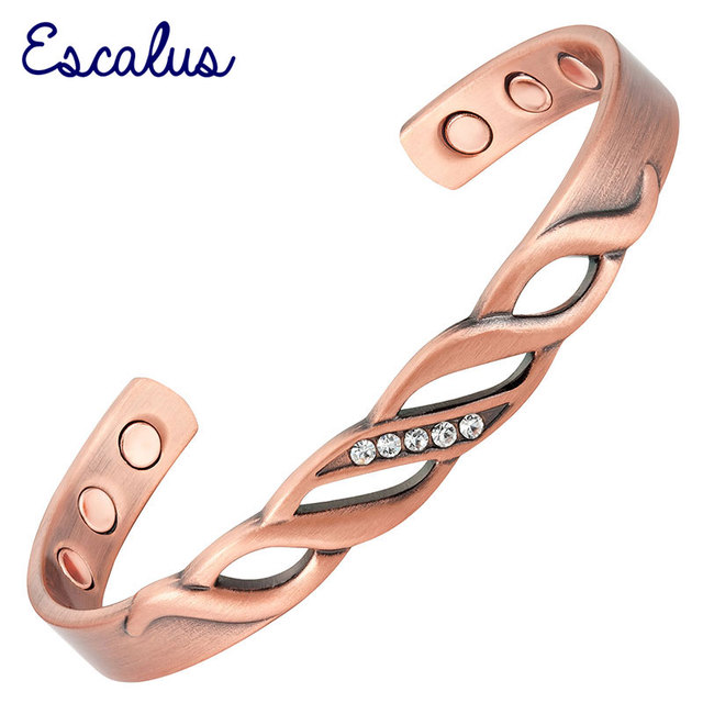 Escalus 2018 Trendy Pure Copper Magnetic Bangle For Women 5pcs Crystals Bio Healing Gift Men Charm Bangles Jewelry Wristband