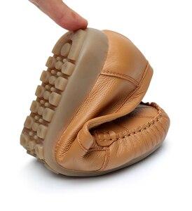 Image 5 - GKTINOO Plus Size 35 43 Vrouwen Flats Nieuwe Mode Echt Leer Platte Schoenen Vrouw Zachte Zool Enkele Schoenen Vrouwen schoenen