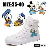 Duck Mickey Fairy Cartoon Printed Pattern High Heel Double Layer Canvas Women Shoes VelcroShoelace Teen Off White Shoes A19621