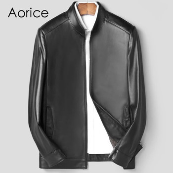 Aorice MT112 2020 New fashion men jackets  short genuine sheep leather jacket and coat spring and autumn casual outwear