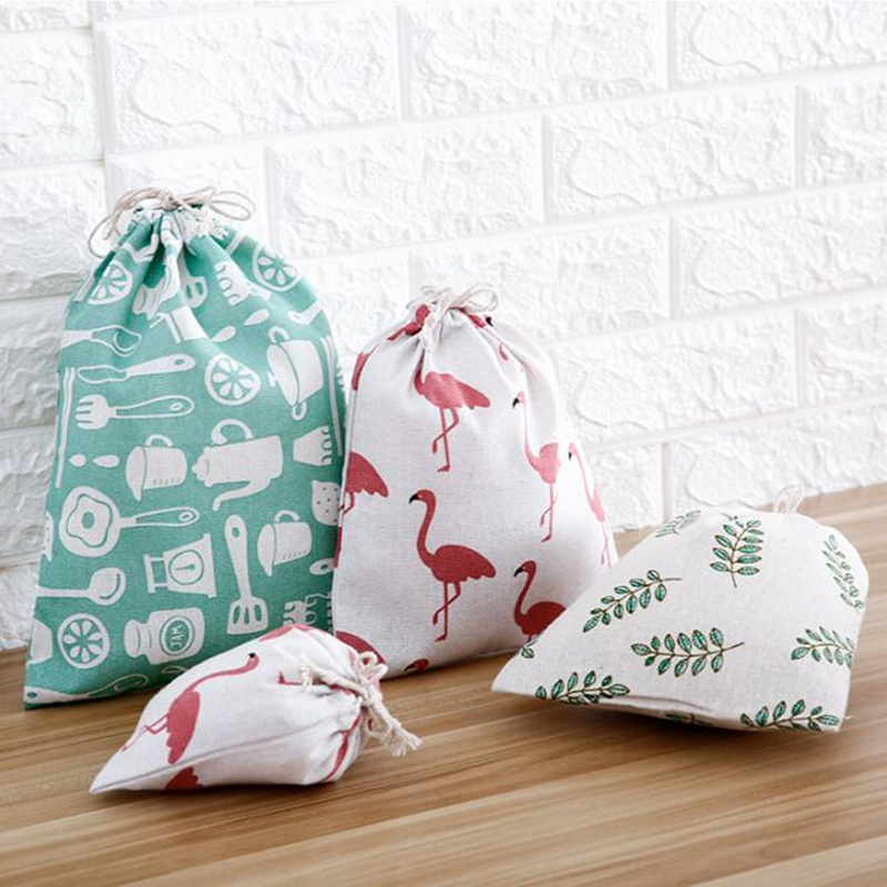PURDORED 1 Pc Portable Cotton Linen Drawstring Bag Women Dustproof Travel Storage Organizer Bag Women Makeup Bags Dropshipping