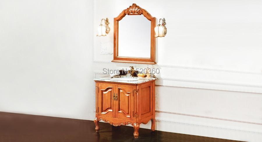 brown oak, green marble cabinet and mirror,  Bathroom Vanities