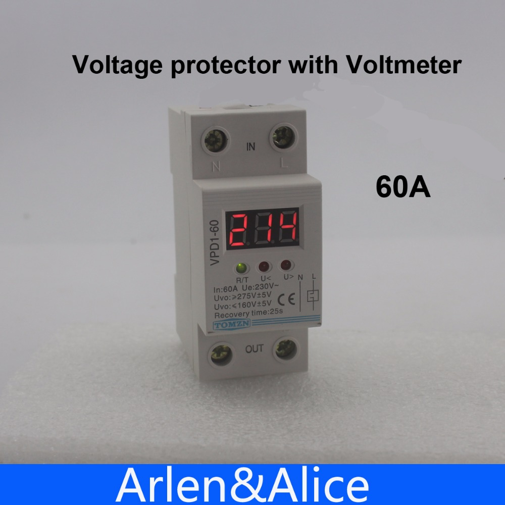 60A 220 V automatique reconnecter sur tension et sous la protection de tension dispositif de protection relais avec Voltmètre moniteur de tension