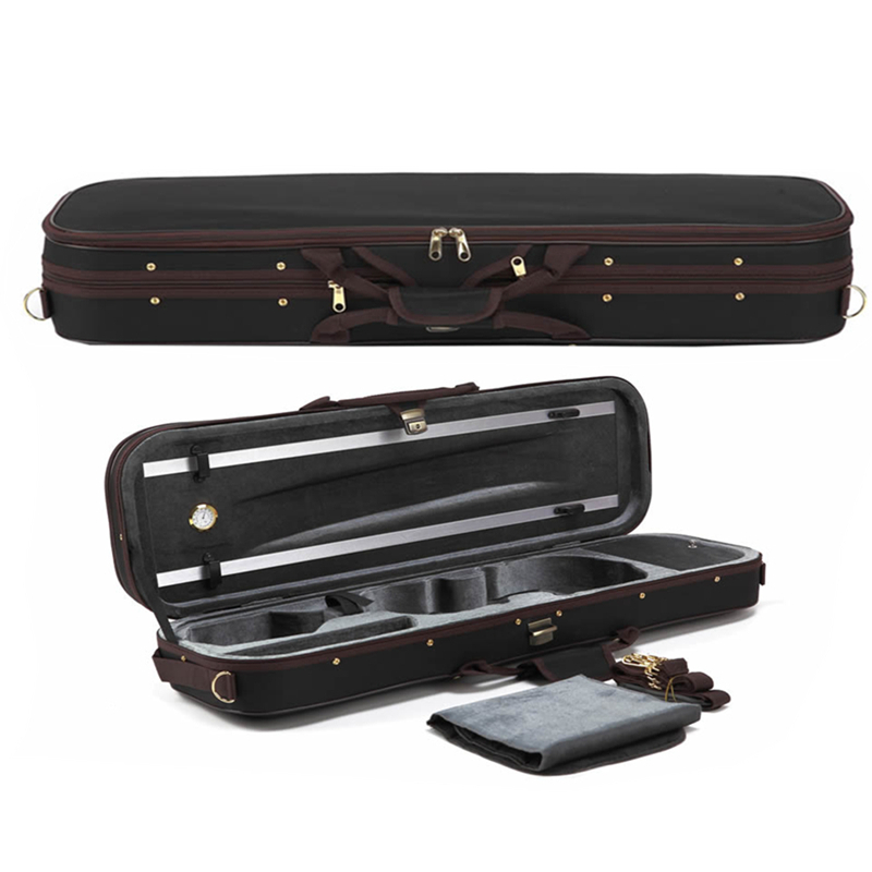 High Grade Pleuche Rectangle Violin Case 4/4 w/ Hygrometer Black Oxford Violino Case