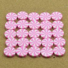10個20ミリメートルピンク-ホワイトストリップ粘土キャンディー、粘土デザート、diyミニチュア
