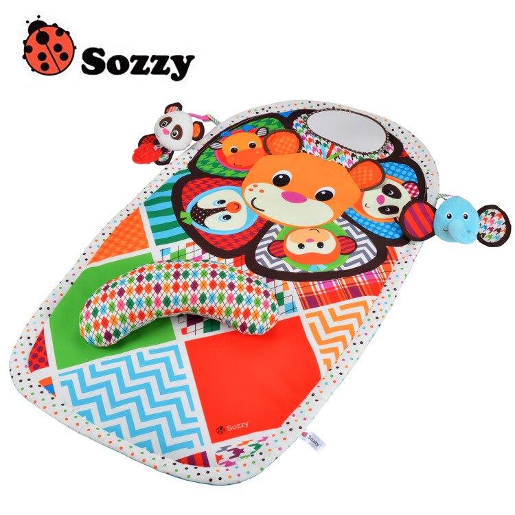 Новый Sozzy 90 см активности ползать коврик с ѕрорезыватель кольцо бумага зеркало игры Ндеяло пеленка Pad ¬одонепроницаемый Нбучающие игрушки куклы дети