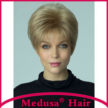 Medusa hair products: Chic pixie cut styles Synthetic pastel wigs for women Short straight Mix color wig with bangs  SW0137A