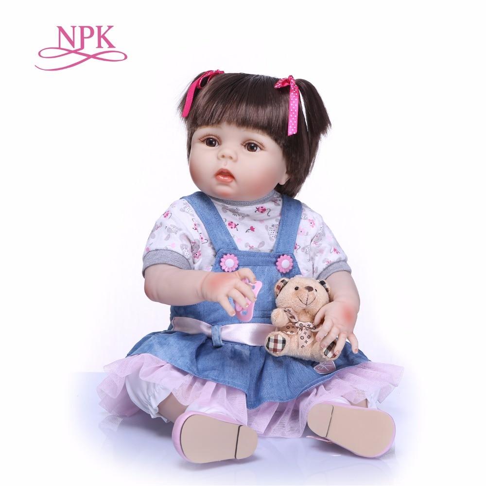 NPK 22 55cm Handmade full Silicone adorable Lifelike toddler Baby Bonecas girl bebe doll reborn menina