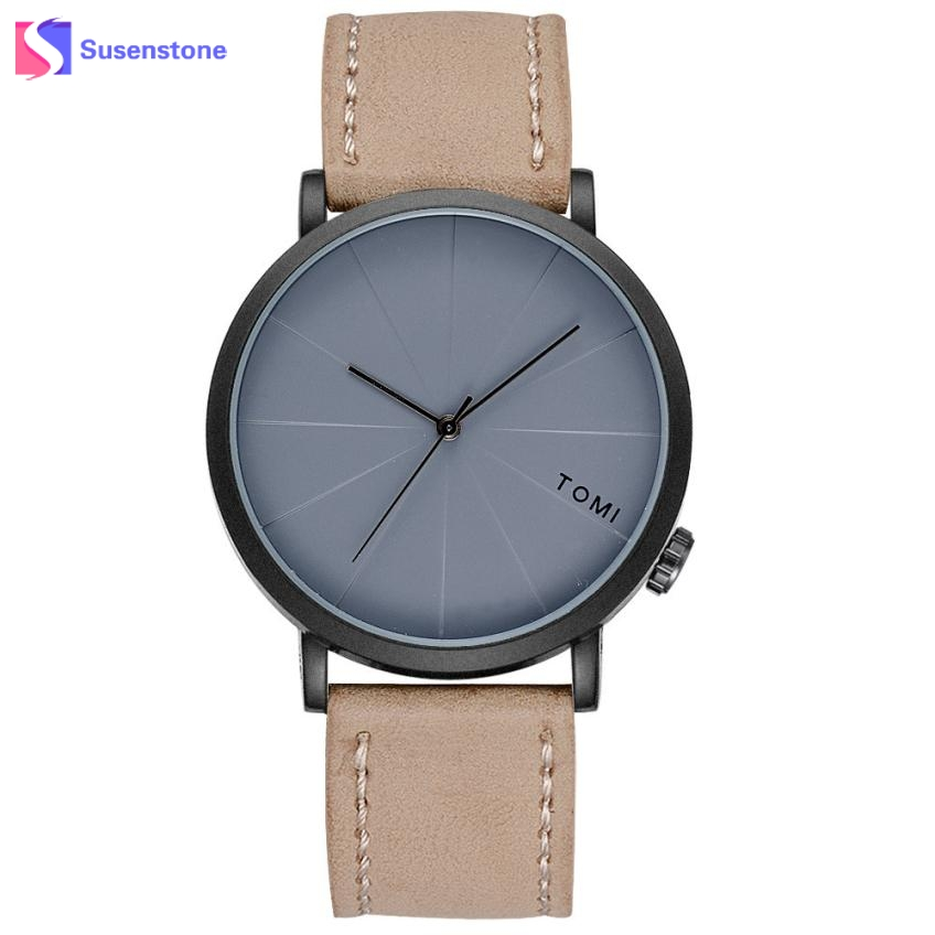 2017 Fashion Men 's Bussines Watch Retro Design Leather Band Round Quartz Wristwatch Color Analog Man Casual Dress Watches
