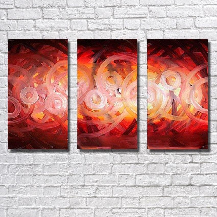Livraison Gratuite Rouge Cercle De Pur peint à la Main Peinture À L'huile La Salon Wall Art Photos De Peinture Abstraite Moderne Pas cadre