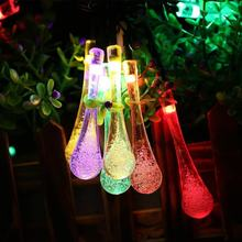 20 LED Big Water Drop Shape Colorful Solar Panel Powered String Light Home Christmas Wedding Path Party Fairy Light Lamp(China)