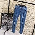 Ripped Jeans Women New Style Slim Elastic Pencil Pants Stretched Denim Jeans Trousers Plus Size 3XL 4XL 5XL Blue KK1820