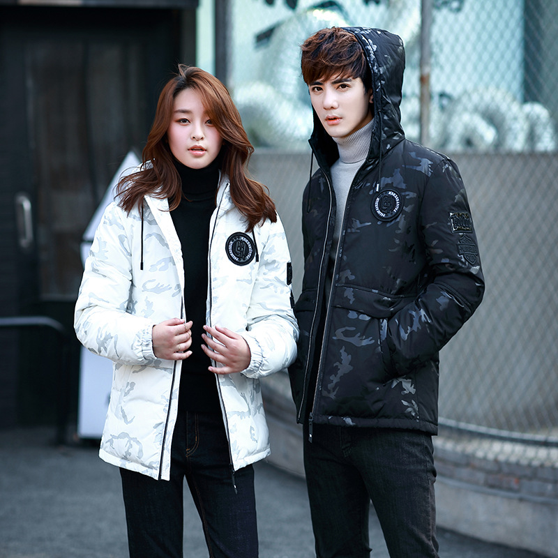 Молодежи знак украшения пару моделей зимняя куртка пуховик Повседневный Камуфляжный узор с капюшоном утолщение мужская зимняя одежда