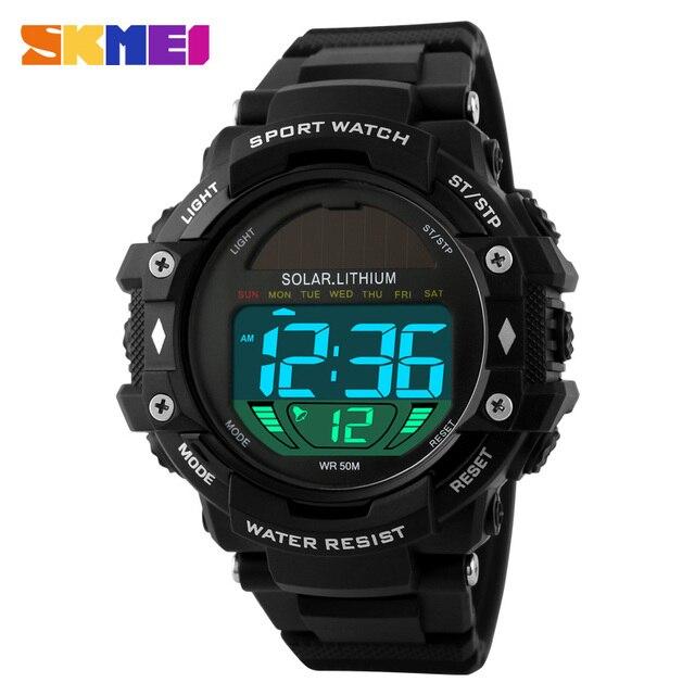 2016 SKMEI Men's Sports Watches Solar Power Men LED Digital Watch Outdoor Male Clock Relogio Masculino Relojes Wristwatches 1129