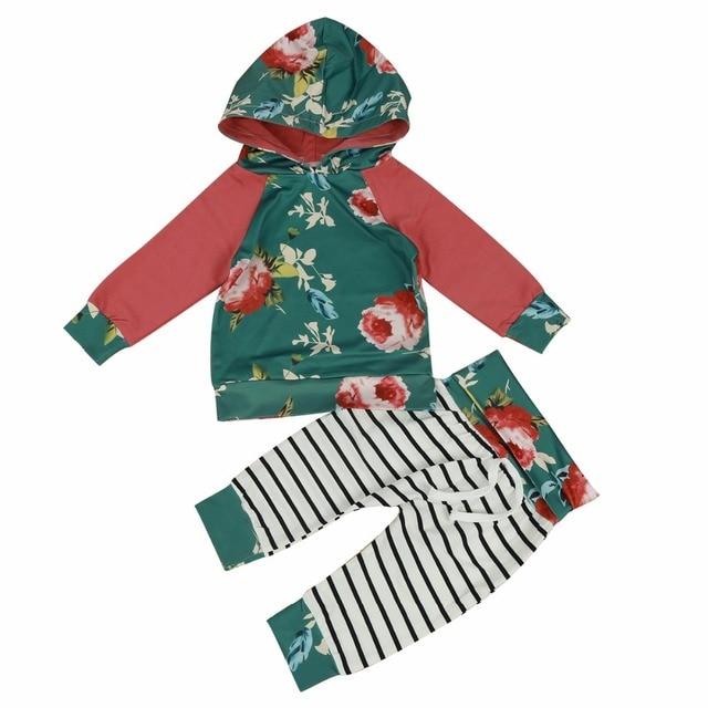 660da345773b infant Baby girl clothes set Floral Long Sleeve Hooded sweatshirt ...