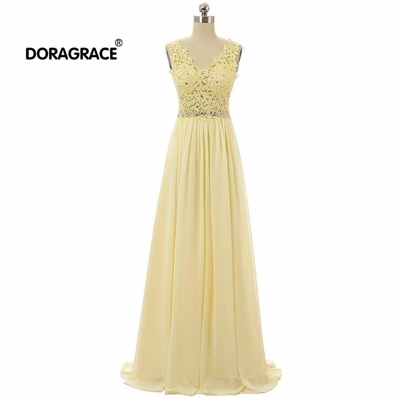 Doragrace robe de soiree Real Photos V Neck Sleeveless Applique Beaded Chiffon Long Evening Dresses