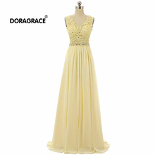 Doragrace robe de soiree Real Photos V Neck Sleeveless Applique Beaded Chiffon Long Evening Dresses