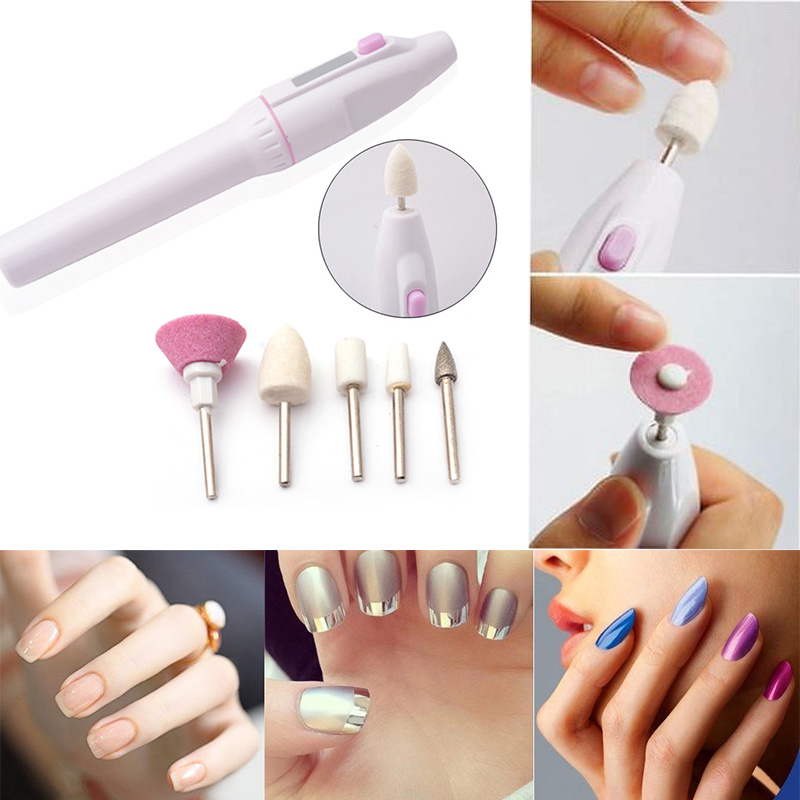 Nail Art Tip Electric Manicure Toenail Drill File Tool Nail Grinder Polisher Set +5 Bits Polisher Makeup Beauty Cosmeti For Sale