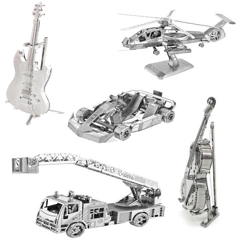 3D metal assembled model puzzle electric guitar kart diy toy set children's education best gift adult puzzle collection
