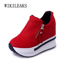 2019 Red Woman Platform Shoes Hidden Heel Height Increasing