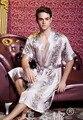 2015 de Primavera y verano Popular de seda albornoz hombres bata kimono albornoces otoño fina ropa de noche de seda de manga corta más el tamaño L-XXXL