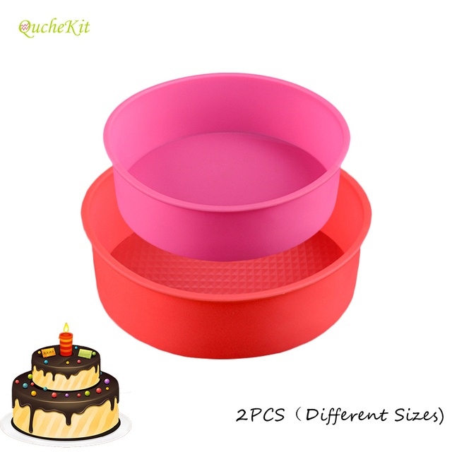 2 Layers Round Silicone Mold Set Mousse Cake Moulds Baking Pan For Birthday Molds