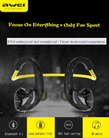 Awei A880BL Wireless Bluetooth Headphone Earphones AptX Sports Earhook For Cycling Gym With NFC