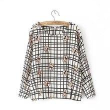Show School Women Plaid Blouse Elegant Slim Tops 5/8 Sleeve O-Neck Pullover Printing Sweet Girl Shirt Wild Casual Tops EF151