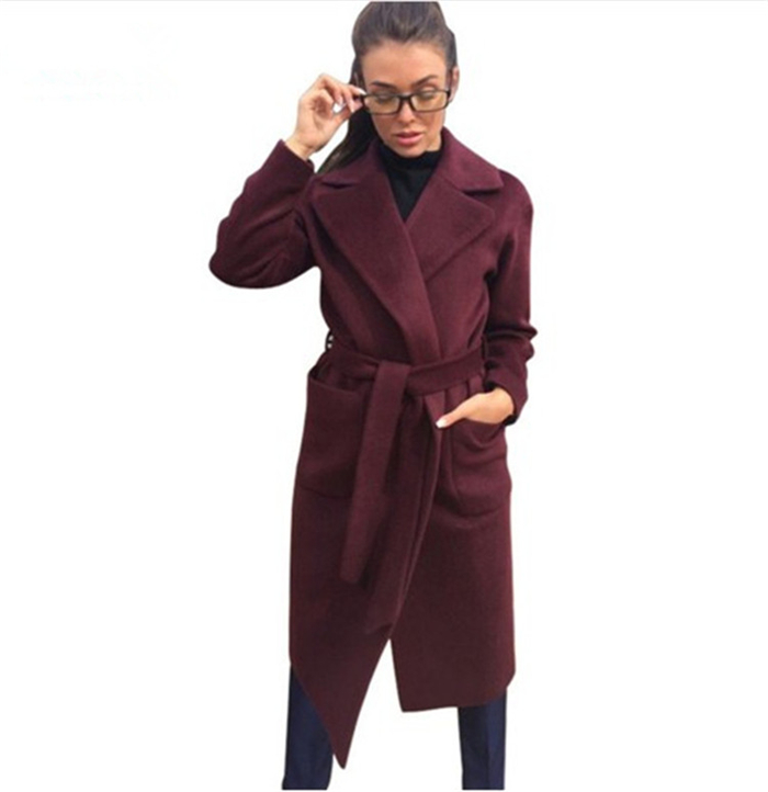 MVGIRLRU elegant Long Women's coat lapel 2 pockets belted Jackets solid color coats Female Outerwear 7