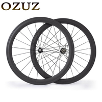 OZUZ 700C 50mm Clincher Carbon Wheel Road Bike Bicycle Wheels Stand Wheels Novatec 271 372 Hubs
