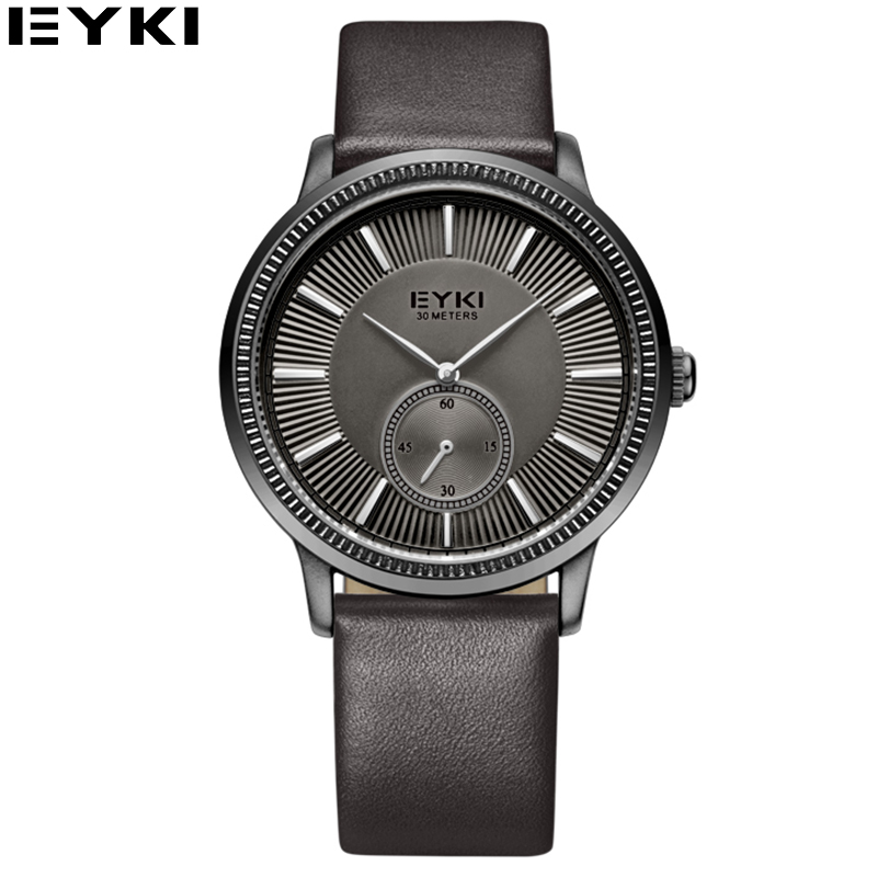 EYKI Casual Black Leather Strap 24 Hours Watches Men font b Top b font font b