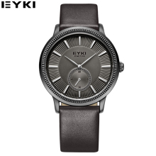 EYKI Casual Black Leather Strap 24 Hours Watches Men Top Brand Luxury Erkek Kol Saati Designer Waterproof Mens Wristwatch 2016
