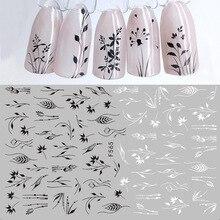 1 sayfalık 3D tırnak Sticker siyah beyaz yaprak Totem tırnak sanat çıkartma dövme yapışkanlı çıkartmalar kaymak İpuçları Nail Art süslemeleri 2019 yeni