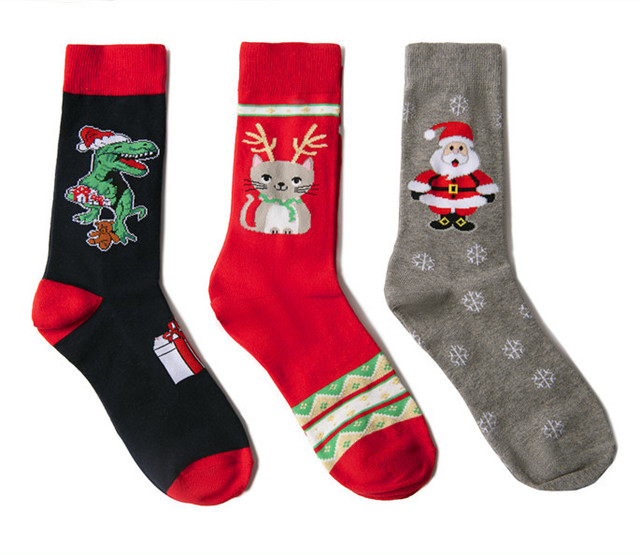 Jhouson 1 pair Fashion Crew Funny Christmas socks Colorful Men's Cotton Causal Dress Colorful Wedding Socks For Gifts 5