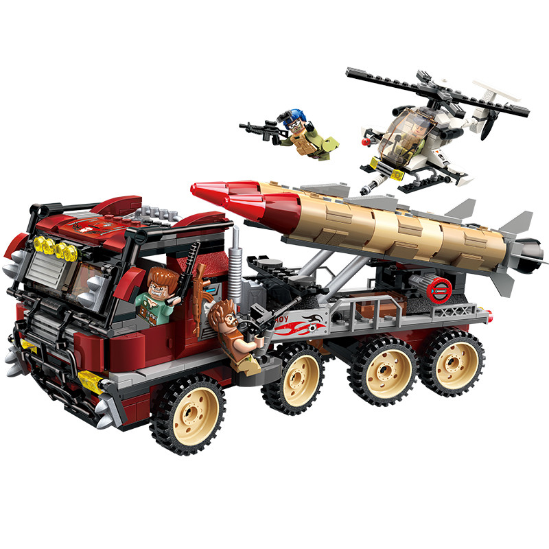 Enlighten 656Pcs Military War City Thunder Mission Army Super Weapon Rocket Car Building Blocks Bricks Toys in Blocks from Toys Hobbies