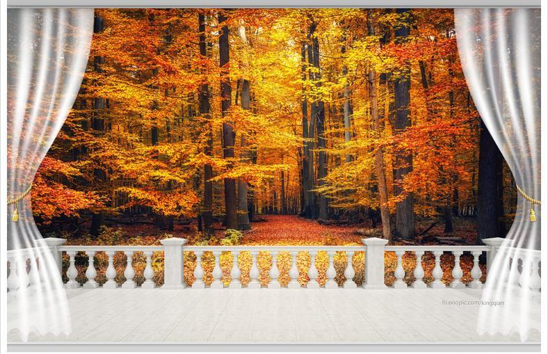 Customized 3d Wallpaper 3d Wall Murals Wallpaper 3d TV Setting Wall Balcony  Autumn Landscape Forest Wall Part 98