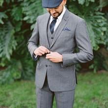Men Suit 2017 Handmade Notch Collar Grey Wedding Groom Tuxedos Prom men Suits Formal Dinner Party Dress (Jacket+Pants+Vest+Tie)