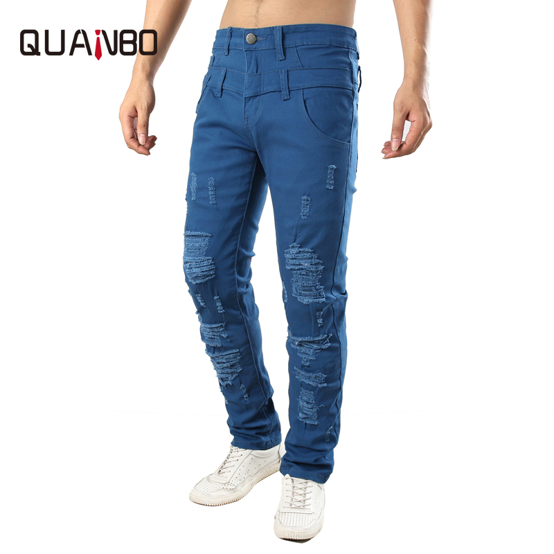 QUANBO Brand Hole Jeans Fashion Blue Casual Denim Pants Elastic Slim Hole Ripped Jeans Plus Size 38 40 42