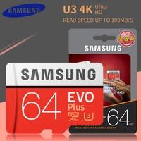 Оригинальная карта памяти MicroSD SAMSUNG EVO Plus карты памяти 64 Гб 128 ГБ Micro-sd карты памяти Class10 100 МБ/с. SDXC, Micro sd карта 32 Гб 95 МБ/с. флэш-карта памяти